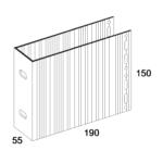 П-Кронштейн фасадный несущий ПКН1-190 для Навесных вентилируемых фасадов (рисунок с размерами)